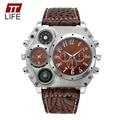 2016 TTLIFE Marca Termómetro Brújula Decoración relogio masculino relojes de los Deportes de Senderismo de Aventura Dual de Los Hombres Reloj de pulsera de Cuarzo