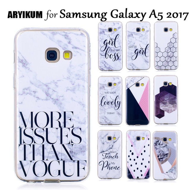 super popular 94412 6d539 US $1.83 8% OFF|ARYIKUM Mobile Case For Coque Samsung Galaxy A5 2017 A520  SM A520F Marble Case Silicone Cover For Samsung A5 2017 Dual Sim etui-in ...