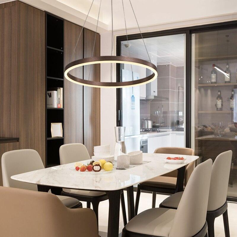 Living room chandelier creative ring combination minimalist restaurant chandelier brown gold adjustable LED lamps