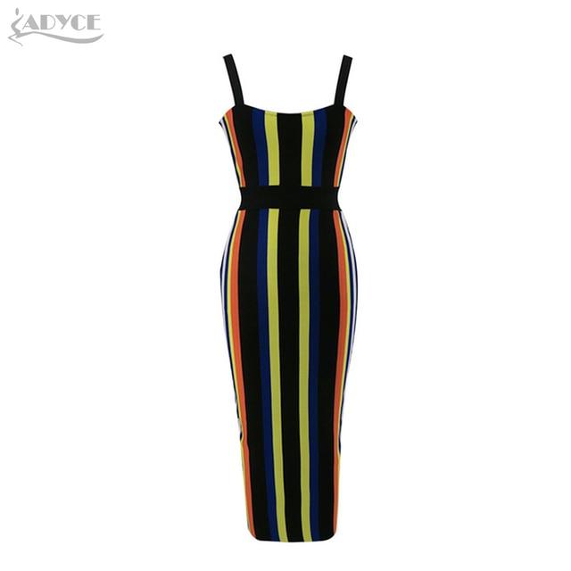 Spaghetti Strap V-Neck Candy Color Striped Dress Celebrity Evening Party Dress 3