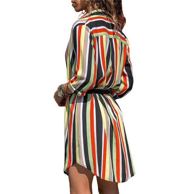 09363a1400c8a US $12.67 |Long Sleeve Shirt Dress 2019 Summer Chiffon Boho Beach Dresses  Women Casual Striped Print A line Mini Party Dress Vestidos-in Dresses from  ...