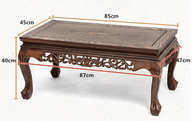 Solid Wood Coffee Table Decoration Rectangle 85cm Long Living Room  Furniture Asian Style Low Coffee Center
