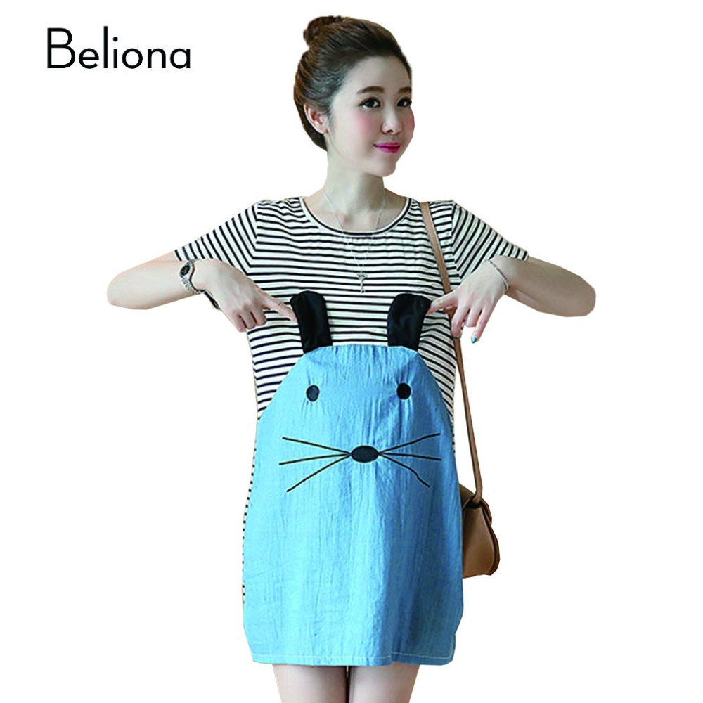 Online get cheap maternity clothes cat aliexpress alibaba group summer fashion cute cat striped patchwork maternity dresses for pregnant women loose casual pregnancy clothes maternity ombrellifo Choice Image