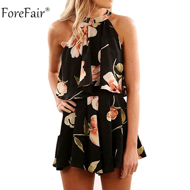 f9a49fbdcdf ForeFair Sexy Floral Playsuits Women Summer Autumn Bohemian Print Sexy  Halter Two Piece Chiffon Jumpsuit