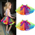 Kids Children Dancewear Ballet Tutu Skirt Girls Rainbow Bow Tulle Tutus Colorful Tutu Skirt