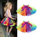 Kids Children Dancewear Ballet Tutu Skirt Girls Rainbow Bow Tulle Tutus Colorful Tutu Skirt