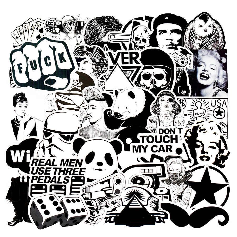 50 pcs black and white punk anime stickers home decor sticker on luggage motor bike skateboard