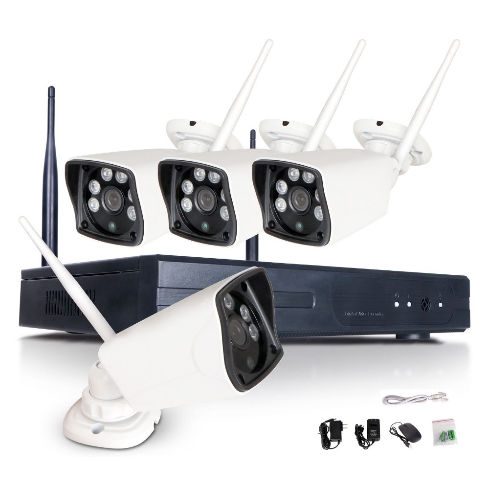4CH CCTV System Wireless 1080P NVR 4PCS 2.0MP IR Outdoor P2P Wifi IP CCTV Security Camera System Surveillance Kit 1TB HDD 5 8g 1 0 mp 1 4 color cmos 4ch 720p wifi 1 nvr with 4 pcs waterproof ir bullet wireless ip camera wireless cctv system kit