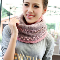 Fashion Girls Knitted Crochet Cotrast Color Scarf Shawl Cowl Neck Warmer Circle Tube Gradient Color Magic