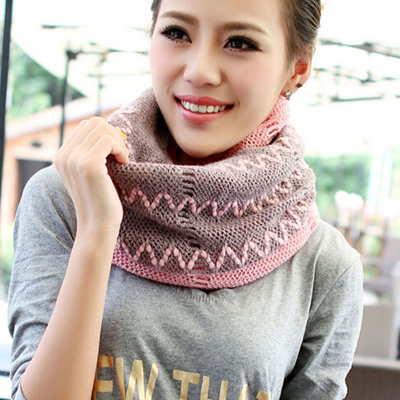 Fashion Girls Knitted Crochet Cotrast Color Knitted Scarf Shawl Cowl Neck Warmer Circle Tube Gradient color