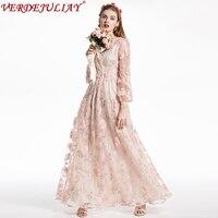 Luxury Dresses 2019 New Spring Women Runway Fashion Flowers Embroidery Empire European Floor Length Elegant Long Pink Dress