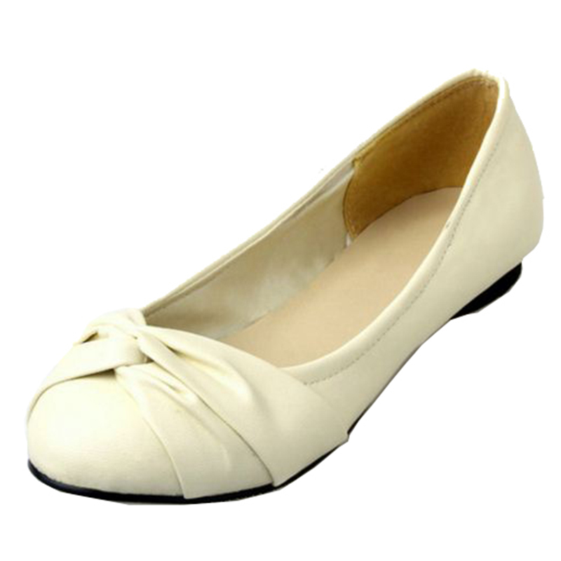 SJJH 2018 Woman Ballet Flats With Round Toe Bowtie Soft Comfort Footwear Casual Elegant Formal Working Shoes Large Size A567
