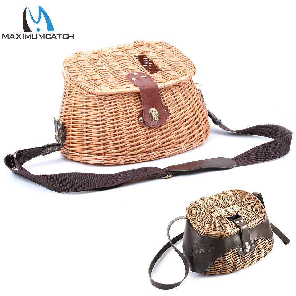 Maximumcatch Classical Wicker Trout Fishing Creel Willow Fishing Basket Vintage Fishing Tackle Box