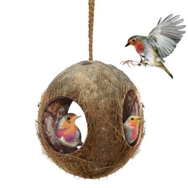Pet Coconut Shell Bird Parrot Nest House Hut Cage Feeder Toy With Chain Budgie Parakeet Cockatiel Conure Hideaway Husk