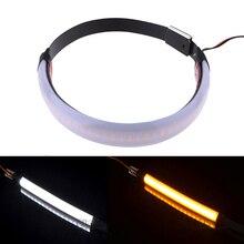 BJMOTO 45-70mm Fork LED Turn Signal Motorcycle Indicator Amber Blinker Lamp Strip For KTM BMW Yamaha Honda