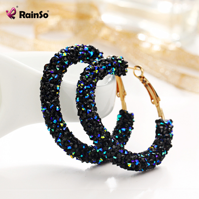 Rainso Fashion Simple Hyperbole Big Hoop Earrings Round Lady Shiny Crystal  Rhinestone Charm  Jewelry Women Circle JEW01582