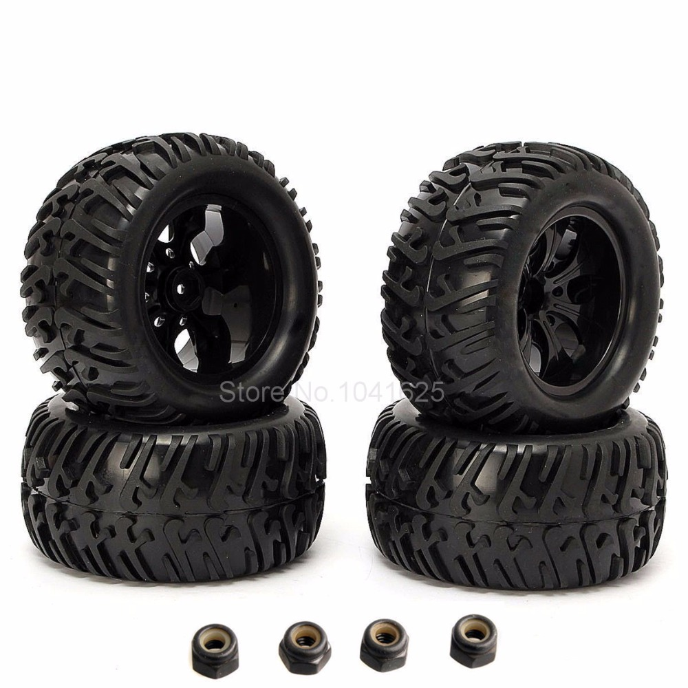 4Pieces RC Tires for Truck & Plastic Wheel Rim Hex:12mm Fit 1:10th Scale Traxxas Tamiya HPI Kyosho Himoto Redcat HSP Monster 4pcs 12mm hub hpi redcat hsp metal wheel rim