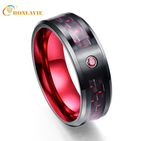 Großhandel Exquisite Rote Zirkon Männer Ringe 100% Wolframcarbid Eheringe Anillos para hombres Ring Drop-Shipping T043R