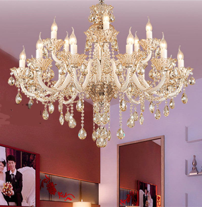 Lights & Lighting New Fashion Antique Gold Chandelier Crystal Lighting For Dining Room Shopcase Glass Shade Home Lighting E27 Led Hotel Fixtures Luminaria