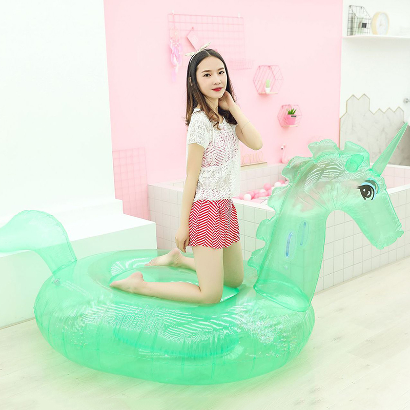 New Swimming Pool Inflatable Unicorn Floats Pool Transparent Style Inflatable Mattress Women Beach Water Toys For