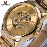 Top Brand Luxury Reloj FORSINING Mechanical Skeleton Side Carving Design Wrist Watch Business Clock Gold Watch