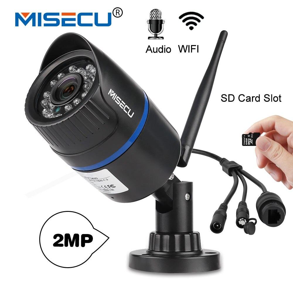 MISECU Audio H.264 + Wifi + 2.0MP cámara IP en 64 GB ranura SD 1920*1080 p P2P inalámbrico correo electrónico push noche IR visión de circuito cerrado de televisión al aire libre