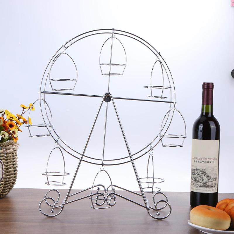 Ferris Wheel 8 Cup Cake Stand Rotate Stainless Steel Display Holder Wedding Party Birthday Bake Tools Cupcake Dessert Cake DecorFerris Wheel 8 Cup Cake Stand Rotate Stainless Steel Display Holder Wedding Party Birthday Bake Tools Cupcake Dessert Cake Decor