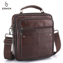 ZZNICK 2020 New Genuine Leather Men Messenger Bag Casual Bus
