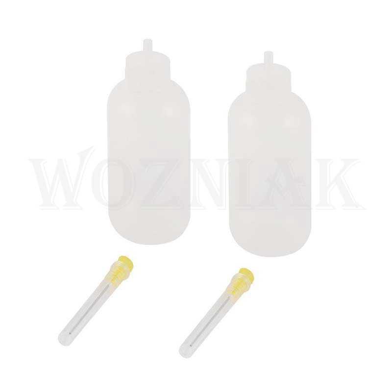 Woaniak 50ml plástico limpar líquido resina de álcool solda fluxo colar garrafa conta-gotas + agulha