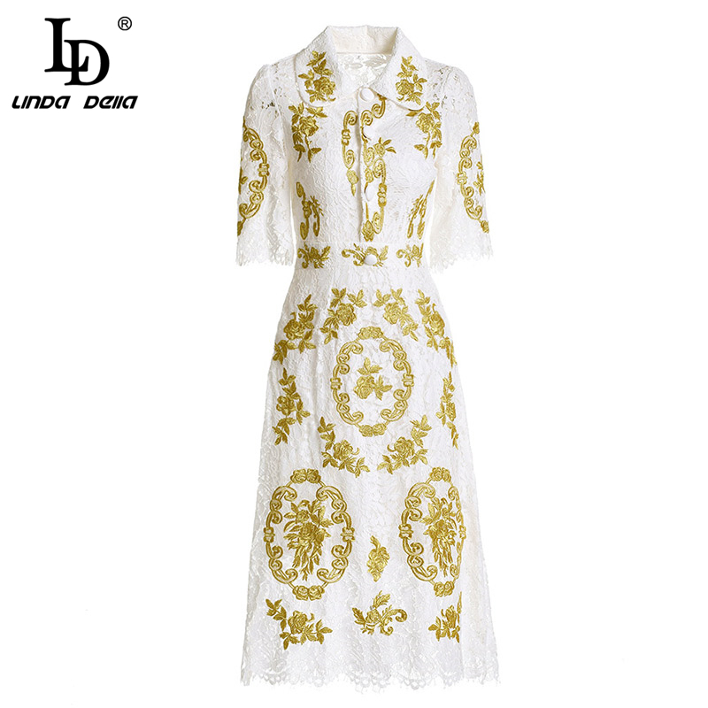 LD LINDA DELLA New 2018 Autumn Fashion Runway Dress Women's Short Sleeve Vintage Floral Embroidery Midi White Lace Dress