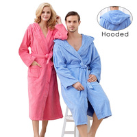 Hooded Toweled bathrobes cotton robe lady women robe autumn and winter waste absorbing thick soft bathrobe