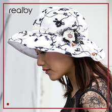 REALBY Summer Beach Hats For Women Elegant Wide Brim Chapeu depraia Feminino Travel Outdoors Cap Sombreros