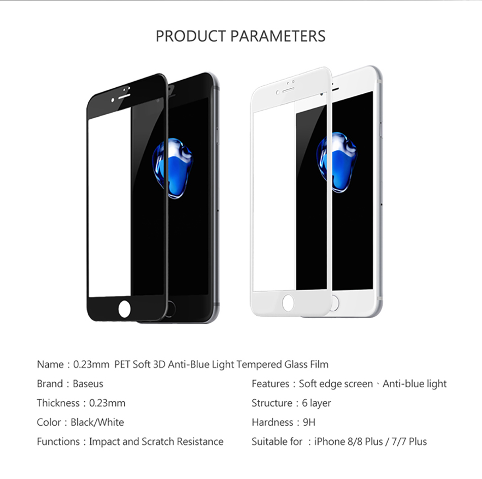 Baseus Tempered Glass For iPhone 8 8 Plus Screen Protector Ultra Thin 9H Protective Glass For iPhone 7 7 Plus Full Coverage Film