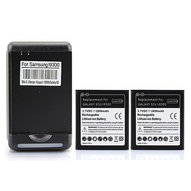 Haute Qualité 2x2800 mAh Batterie De Remplacement Pour Samsung Galaxy S4 i9500 SIV + Mur Chargeur