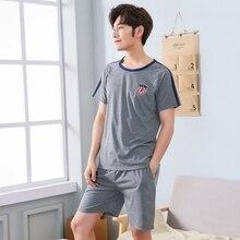 6c1d6894b6 Cotton Pajamas Set for Men 2018 Summer Cartoon Short Sleeve Shorts High  Grade Pyjama Male Casual