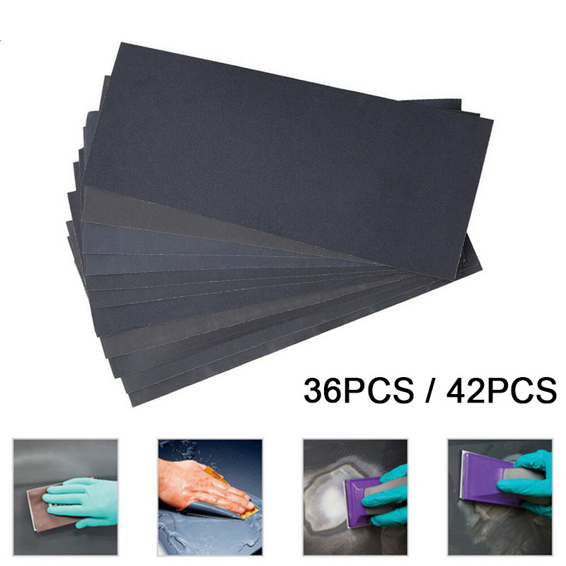 New Sheets Totally Sandpaper Abrasive Dry Wet Waterproof Sandpaper Sheets Assorted Grit Of 400/ 600/ 800/ 1000/ 1200/ 1500/ 3000