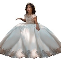 Champagne Fancy Flower Girls Dresses Infantil Para Menina Pink Kids Ball Gowns Long Little Girls First