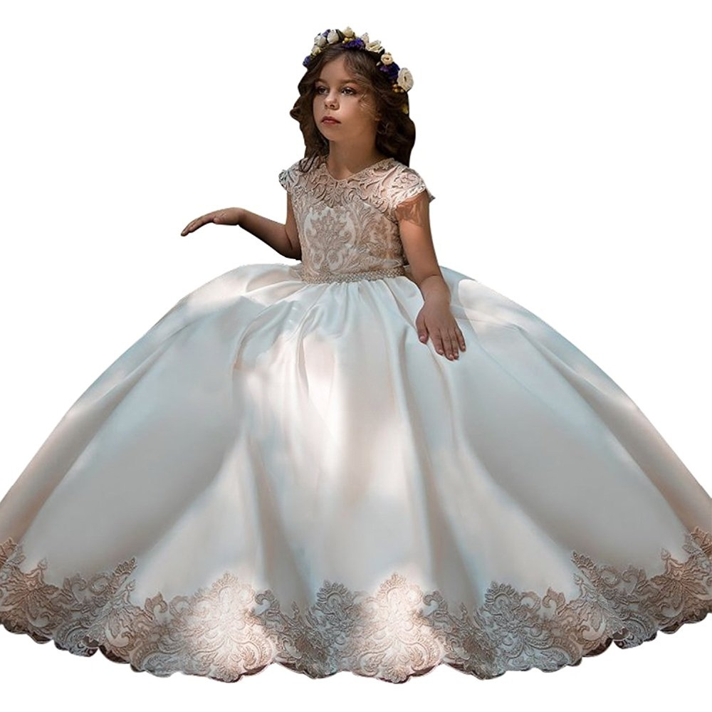 champagne fancy flower girls dresses infantil para menina pink kids ball gowns long little girls first communion dresses 2018 fancy pink little girls dress long flower girl dress kids ball gown with sash first communion dresses for girls