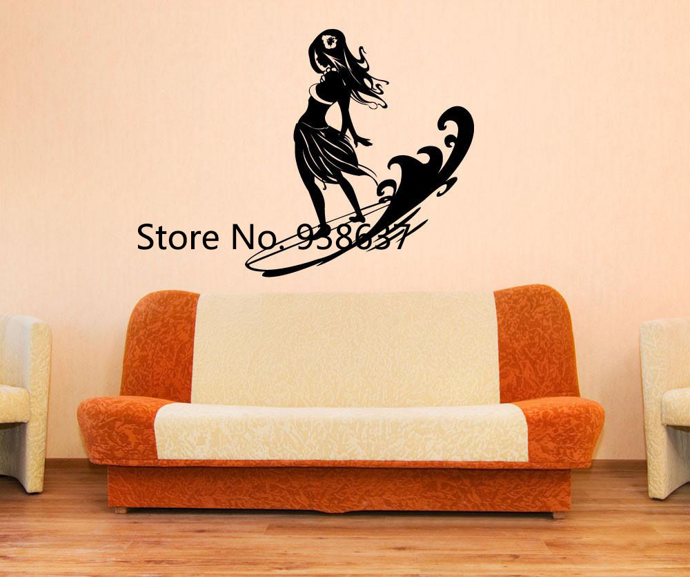 Surfer Hula Girl Wall Stickers Home Decor Living Room Vinyl Wall ...