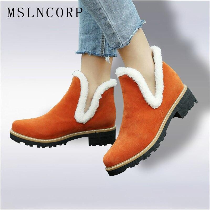 Plus Size 34-43 Warm Plush Platform Ankle Snow Boots Flat Women Winter Non-slip Suede Ladies Rubber Sole Slip On Cotton Shoes