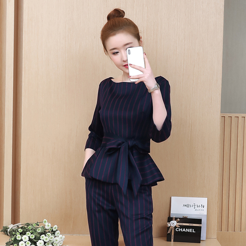 Blue Striped Office Two Piece Set Women Long Sleeve Tops With Belt+pants Trousers Ladies Korean Sets Suits Women's Clothing 2019 33