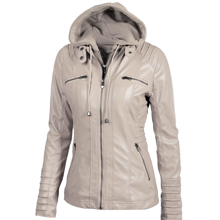New arrival women ladies coats hooded loose leather jackets casual fashion solid color clothes brand thin leather jackets tops
