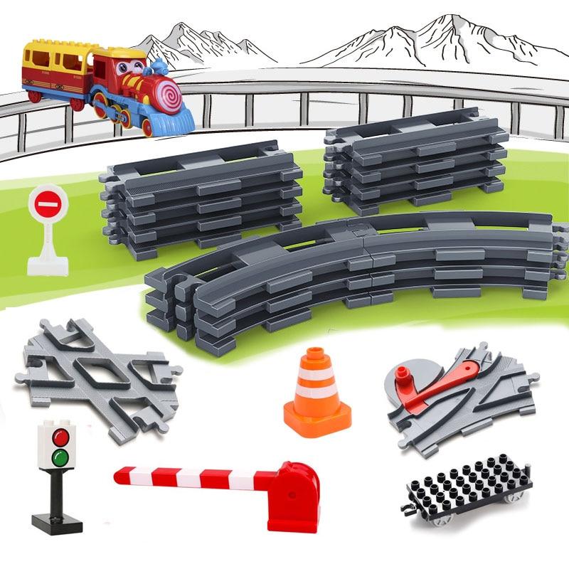 Transporte ferroviário Montar Grandes Blocos de Construção Conjunto Pista Compatível Duploes Tijolos Trem Casa Brinquedos Interativos Para Crianças Presente