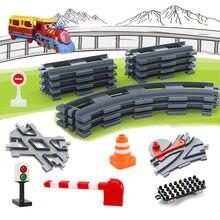Transporte ferroviário montar grandes blocos de construção pista conjunto brinquedo compatível tijolos trem casa brinquedos interativos para o presente das crianças