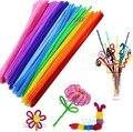 100 pçs/set Chenille Hastes Varas Coloridas Crianças Do Jardim de Infância DIY Artesanato Tubo de Material Criativo artesanato arte Brinquedos Educativos