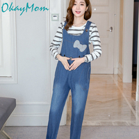 Summer Blue Denim Jumpsuits For Pregnant Women Maternity High Waist Suspender Jeans Overalls Pregnancy Rompers Pants 2019 New