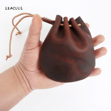 LEACOOL 100% Genuine Leather Coin Purse Crazy Horse Coin Bag Drawstring Pouch Calabash Jewelry Packing Bags(China)