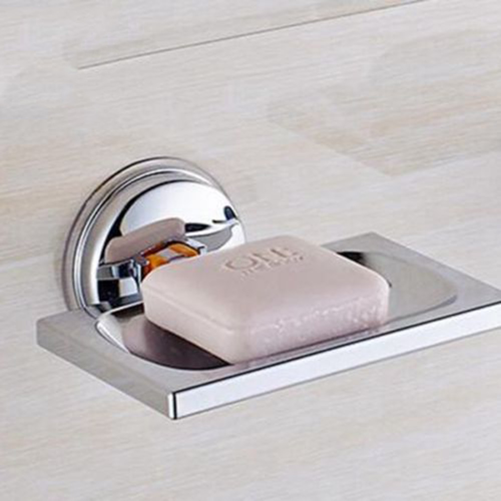 Suction Wall Soap Holder Bathroom Shower Cup Stainless Dish Basket Tray