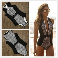 KEENEST 2017 Print Floral One Piece Swimsuit Slim Swimwear Women Bathing Suit Retro Swimsuit Vintage One