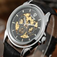 Famosa Marca TEVISE Hombres de Lujo Mecánico Automático Hueco Reloj Masculino Impermeable Reloj de Cuero Reloj de Pulsera para Hombres